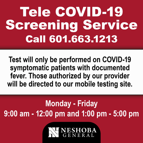 Neshoba General Hospital is offering mobile COVID-19 testing by appointment only.